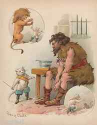 Puss In Boots-sword-lion-mouse-old Fairy Tale-1902 Antique Vintage Print-picture