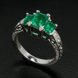 Natural Emerald Engagement Wedding Eternity 14k White Woman Gold Ring We-61