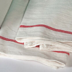 24 new  herringbone non terry towels lint free red stripe 100% cotton