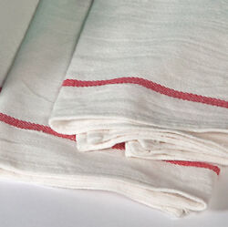 6 new  herringbone non terry towels lint free red stripe 100% cotton