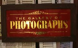 Antique Gold Leaf Reverse Glass Photograph Gallery Sign. 4ft X 2ft.