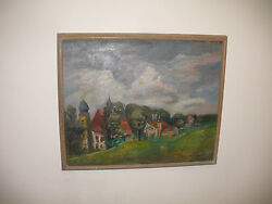 Listed Paul Burlin American 1886-1969 village landscape scene oil canvas paiting