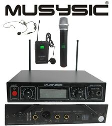 Musysic Dual Channel Uhf Wireless Microphone System Handheld And Lapel / Headset