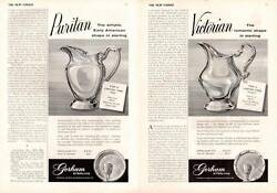 1959 Gorham Print Ad Sterling Silver Puritan And Victorian Pitchers