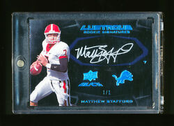 11 MATTHEW STAFFORD 2009 UPPER DECK BLACK LUSTROUS BLUE PLATINUM AUTO RC *LIONS