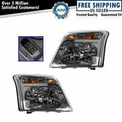 Headlight Headlamp Pair Set For 10-13 Ford Transit Connect