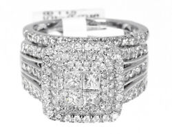 Princess Cut Diamond Engagement Bridal Ring With Jacket In 14k White Gold 2.01ct