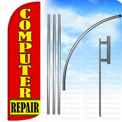 Computer Repair - Windless Swooper Feather Banner Sign Flag 15and039 Kit Rq