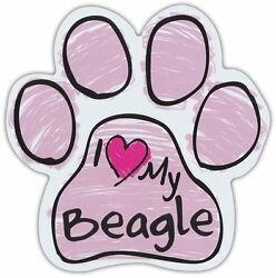 Pink Scribble Paws: I LOVE MY BEAGLE Dog Paw Shaped Car Magnets