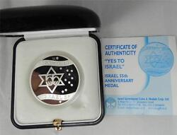2003 Israel 55th Anniversary- Yes To Israel State Medal 37mm 26g Silver +coa+box