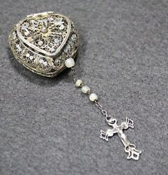Nice Old Silver Vermeil Filigree Box Heart Roma Mother Of Pearl Small Rosary