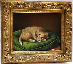MAGNIFICENT 19C EUROPEAN PASTEL ON PAPER PAINTING OF A SLEEPING DOG SIGNED