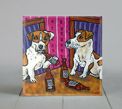 jack russell terrier dog art tile coaster gift modern folk beer bar