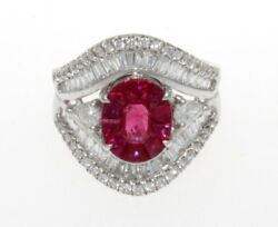New Well Made 3.67 ctw. Diamonds Red Rubies 18k White Gold  Ring Size 7 9.3 gram