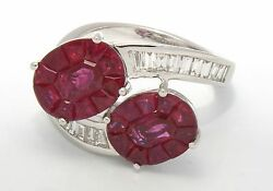 New Well Made 4.54 ctw. Diamonds Red Rubies 18k White Gold  Ring Size 7 5.8 gram