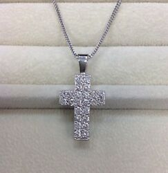 Solid 14k White Gold 1.0 Tcw H/si Natural Diamond Cross Pendant With Chain