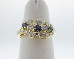 Natural Blue Sapphires Diamonds Solid 18k Yellow Gold Flower Ring Fine Jewelry