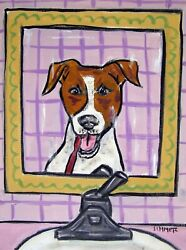 JAck russell Bathroom  dog poster art gift 13x19 dentist  brushing teeth GLOSSY