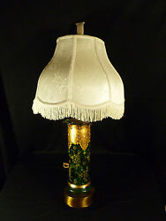 Vintage Moser Hand Painted And Enameled Green And Gilt Glass Lamp W/ Aladdin Finial