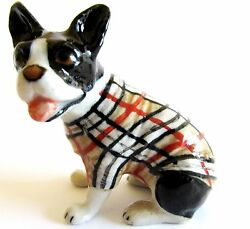 French Bulldog in Checked Jacket Miniature Ceramic Hand Painted Dog Figurine