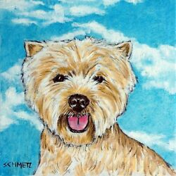 westie west highland terrier with the sky print on TILE modern JSCHMETZ