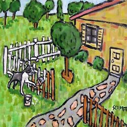 boston terrier painting a fence picture dog art tile  animals impressionism