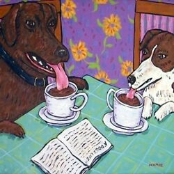 Chocolate Lab Jack Russell Coffee Dog Art Tile Coaster