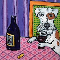 jack russell terrier at the wine bar purple background dog art tile coaster gift