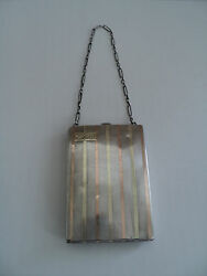 Unusual Sterling Silver And 18k Art Deco Ladies Dance / Coin Purse With Compact