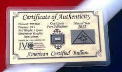 100 Pk W/coa Solid Palladium Pd Bullion Acb Minted 1grain Bars 99.9 Pure Rare +
