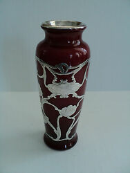 Antique Webb Art Nouveau Red Cased Glass Vase With Sterling Silver Overlay