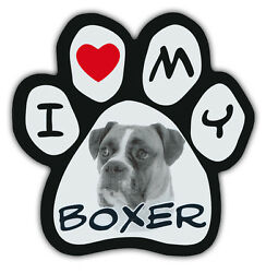 Picture Paws Dog Paw Shaped Magnets: I LOVE MY BOXER Car Magnet