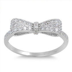 .925 Sterling Silver Women's Clear Cz Ribbon Bow Promise Ring Size 5 To 12 New