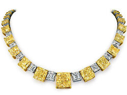 33 ct Carat Total Radiant Cut Fancy Yellow VS Diamond Necklace 18k Yellow Gold