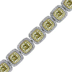 18K White and Yellow Gold 34.78ct Cushion Cut Fancy Yellow Diamond Bracelet