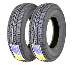 Set 2 Free Country Trailer Tires St205 75r14 /8pr Lrd W/scuff Guard Steel Belted