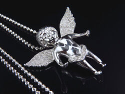 Genuine Diamond Chubby Angel Pendant Charm And Chain 0.75 Ct In White Gold Finish