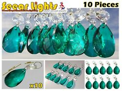 10 Peacock Green Chandelier Oval Cut Glass Crystals Drops Prisms Droplets Beads