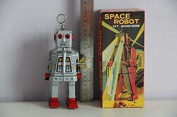 sparky space robby robot tin toy wind up