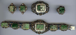 Hungary Antique Silver Moss Agate Enamel And Pearl Bracelet Pin Ring Earrings Set