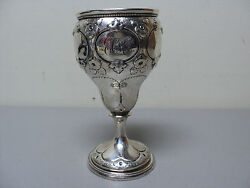 Fabulous Mid-19th C. American Coin Silver Chased Goblet / Chalice 176 Grams