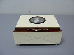 Unusual Art Deco Period Wood And Celluloid Jewelry Box With Portrait Medallion