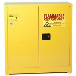 30 Gallon Yellow 2-door Manual Close Eagle Flammable Liquid Safety Cabinet