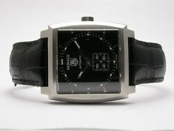 Tag Heuer Monaco Stainless Steel Mens Watch Model Ww2110 Leather Strap