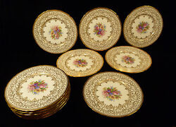 Exquisite Set Of 12 French Hand Painted And Gilt Decorative Cabinet Plates