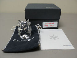 Steuben Crystal Ltd. Edition Bull Figural Hand Cooler, Signed, New In Box