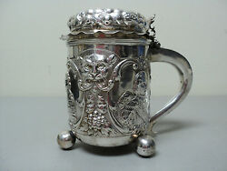 Rare 19th C. Silver Lidded Tankard Heavily Chased Portraits And Mask Decoration