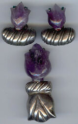 William Spratling Vintage Mexico Silver Carved Amethyst Tulip Pin And Earrings