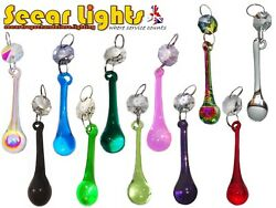 Chandelier Crystals Orbs Cut Glass Drops Prisms Vintage Wedding Droplet Beads X5