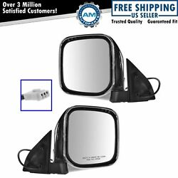 Mirrors Side Power Chrome Left And Right Pair Set For Mitsubishi Montero Sport